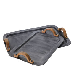 Transitional Metal Tray with Wooden Handle, Set of 2, Gray and Brown