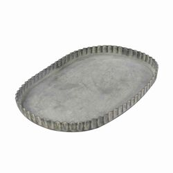 Metal Frame Oval Tray with Crimped Edges, Medium, Gray