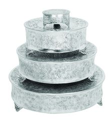 Intricately Designed Aluminum Cake Stand, Set Of Four, Silver