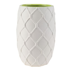 Ceramic Pot with Nautical Knot Texture Details, White and Green