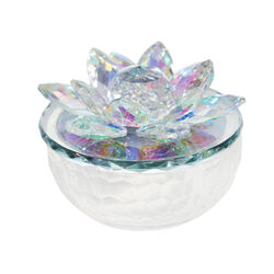 Glass Trinket Jar Accented with Crystal Lotus Flower, White and Clear