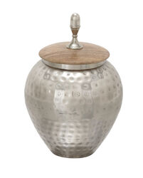 Pot Bellied Shape Metal Jar with Wooden Lid and Hammered Detail, Silver