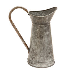 Metal Watering Jug with Curved Handle, Galvanized Gray