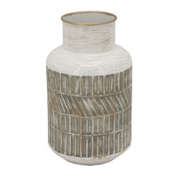 10 Inch Milk Jar Design Accent Decor with Tapered Bottom Base, Gray