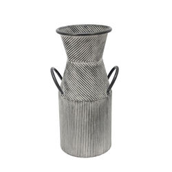 14 Inch Metal Milk Jar Accent Decor with Flared Opening and Banded Top,Gray