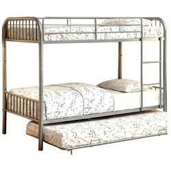 Elegant Metal Twin/Twin Bunk Bed, Silver