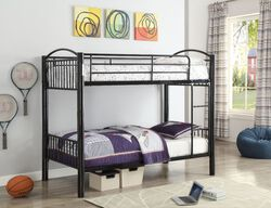 Metal Twin/Twin Bunk Bed, Black