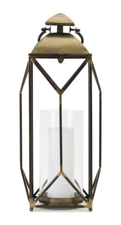 Black and Gold Accents Glass Candle Lantern
