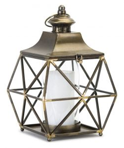 Gold and Bronze Accents Glass Candle Lantern