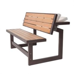 Metal and Wood-Simulated Park Style Convertible Bench to Table for Outdoor Patio Lawn Garden