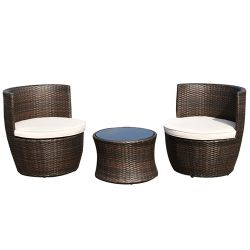 Modern 3-Piece Stackable Rattan Patio Furniture Set with Cushions