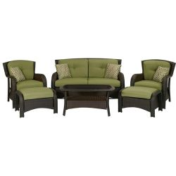 Outdoor Resin Wicker 6-Piece Patio Furniture Set with Green Seat Cushions