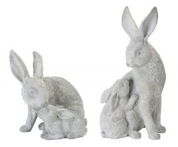 Resin and Stone Powder Rabbit with Bunny Figurine, Set of 2