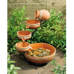 Terracotta 5-Tier Bowls Solar Fountain Bird Bath on patio