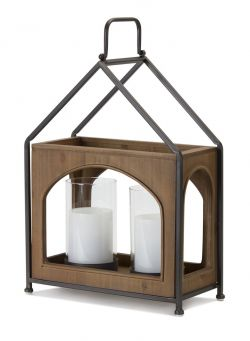 Wood and Black Iron Dual-Candle Lantern