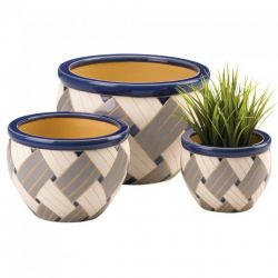 Woven Print Geometric Ceramic Planter Set