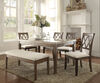 Rectangular Wooden Dining Table with Marble Top, Brown and Beige
