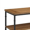 Wooden Coffee Table with Bottom Shelf and Metal Legs, Brown and Black