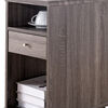 Elegant Chairside Table With Display Shelves and Drawer, Gray