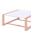 Metal Frame Rectangular Coffee Table with Sled Base, Rose Gold and White