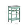 Contemporary Style Kitchen Island with Granite Top and Casters, Green