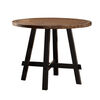 Round Rubber and Pine Wood Counter Height Table With X base, Brown