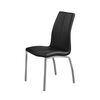 Contemporary Faux Leather Upholstery Dining Chair, Set Of 4, Black And Chrome