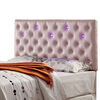 Upholstered King Bed Headboard With Led Lighting, Pink