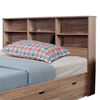 Elegant Brown Finish Full Size Bookcase Headboard With 6 Shelves.