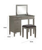 Wooden Vanity Set with Flip Top Mirror and 4 Drawers, Gray