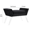 Wooden Vanity Bench with Cushioned Seat and Angled Acrylic legs, Black