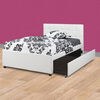 Wooden Full Bed With Trundle And SQU Tufted HB, White
