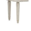 Antiqued Wooden Mirror Stool Set with Square Tapered Legs, White and Brown