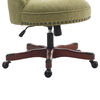 Wooden Office Chair with Button Tufted Backrest, Olive Green and Brown