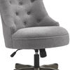 Wooden Office Chair with Textured Fabric Upholstery, Gray