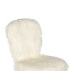 Faux Fur Upholstered Office Chair with Caster Wheels, White and Silver