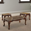 Wooden Coffee Table and End Tables Set with Faux Marble Top, Pack of 3, Brown