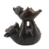 Polyresin Figurine Featuring Father and Son Pig Playing, Bronze