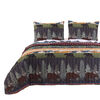 3 Piece Full Size Quilt Set with Nature Inspired Print, Multicolor