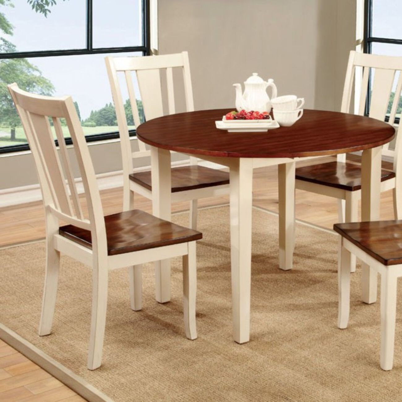 Dover Transitional Dining Table, Vintage White & Cherry