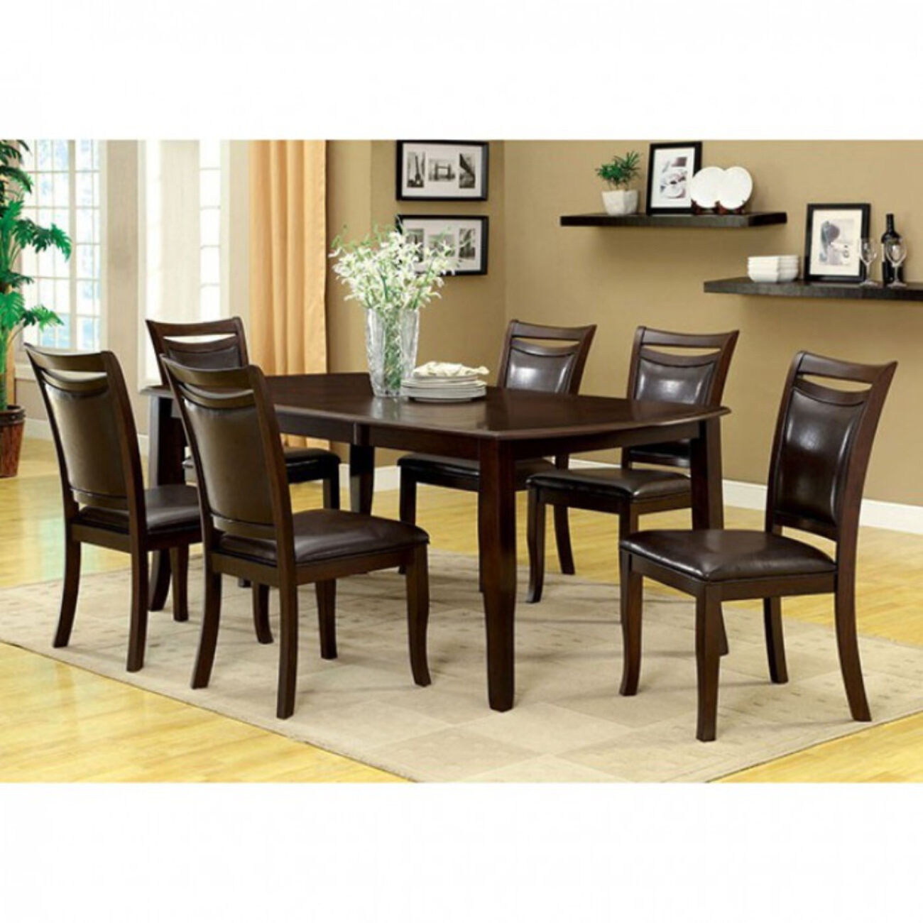 Woodside Contemporary Dining Table, Expresso Finish