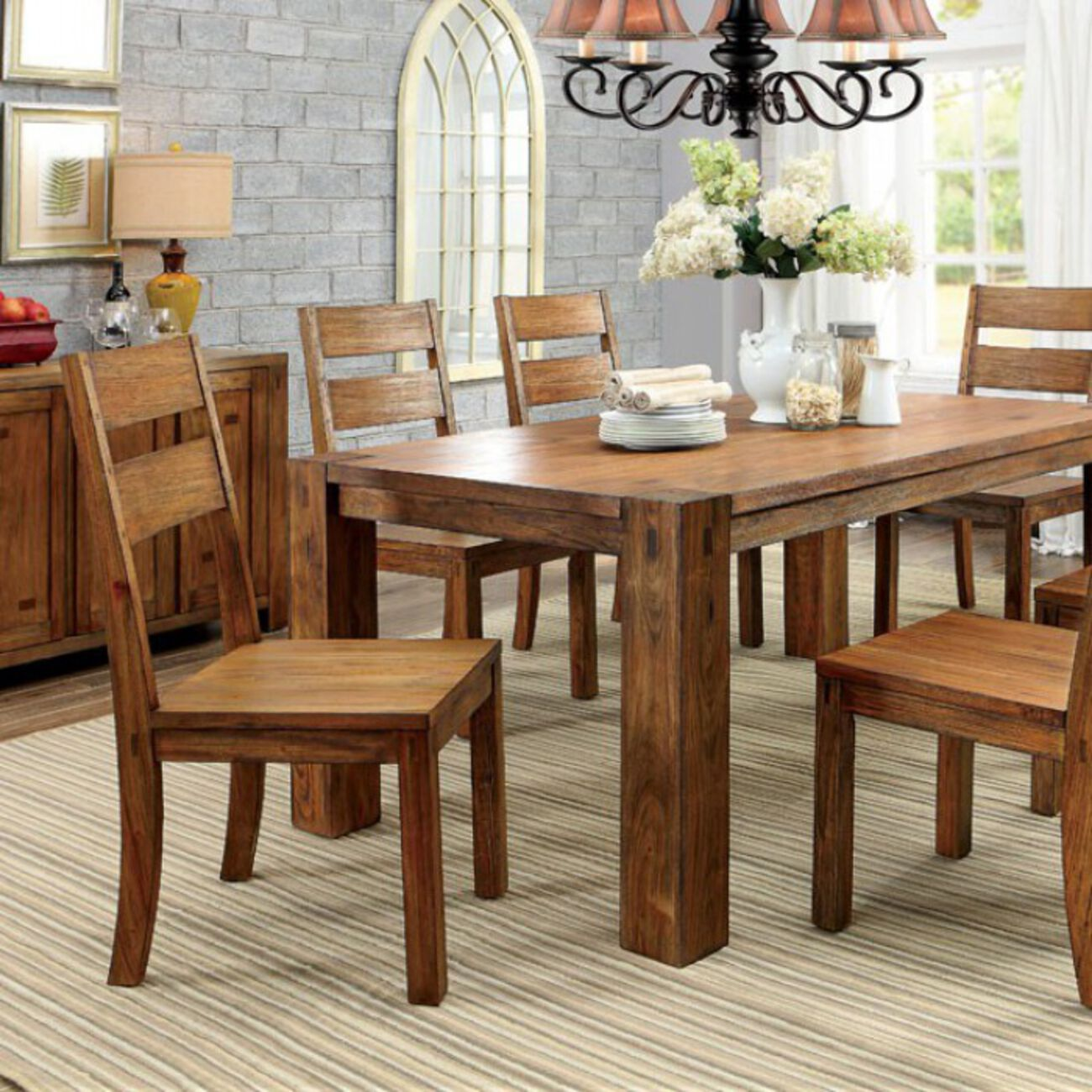 Frontier Transitional Style Dining Table, Dark Oak Finish