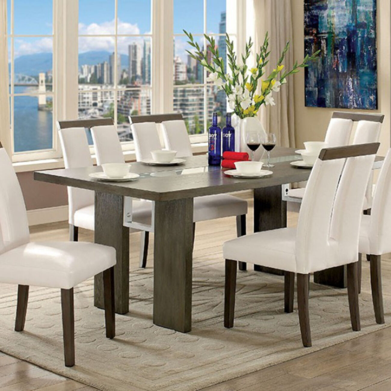 Luminar I Contemporary Style Dining Table With Led Lights, Gray