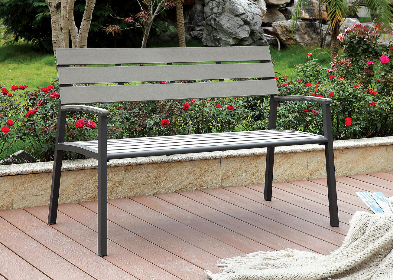 Isha Transitional Style Patio Bench, Gray
