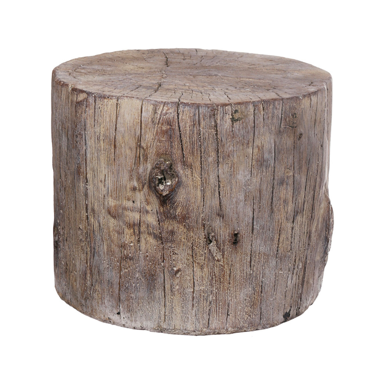 Round Tree Stump Cement Stool,  Brown