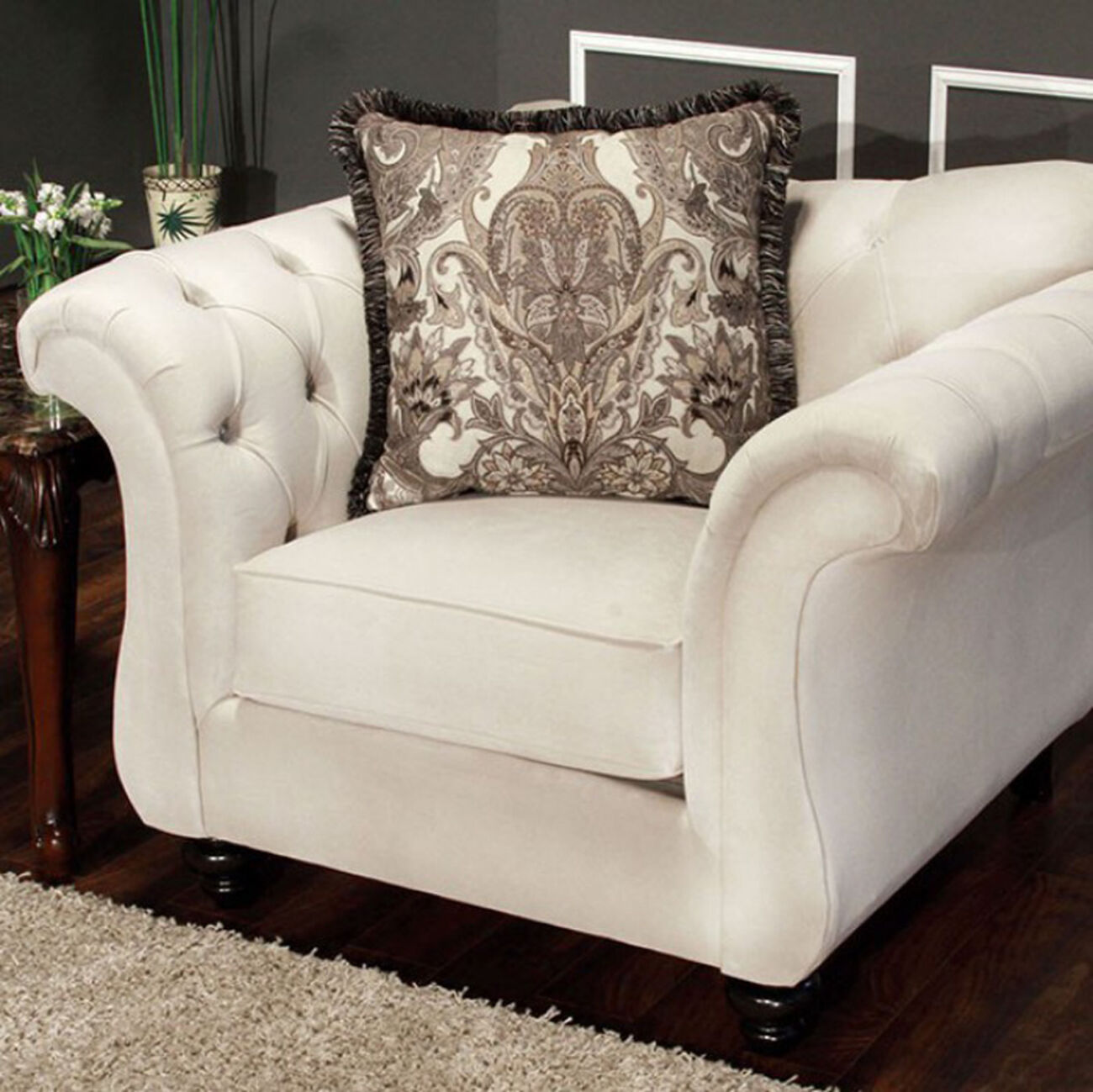 Antoinette Beige Premium Fabric Chair