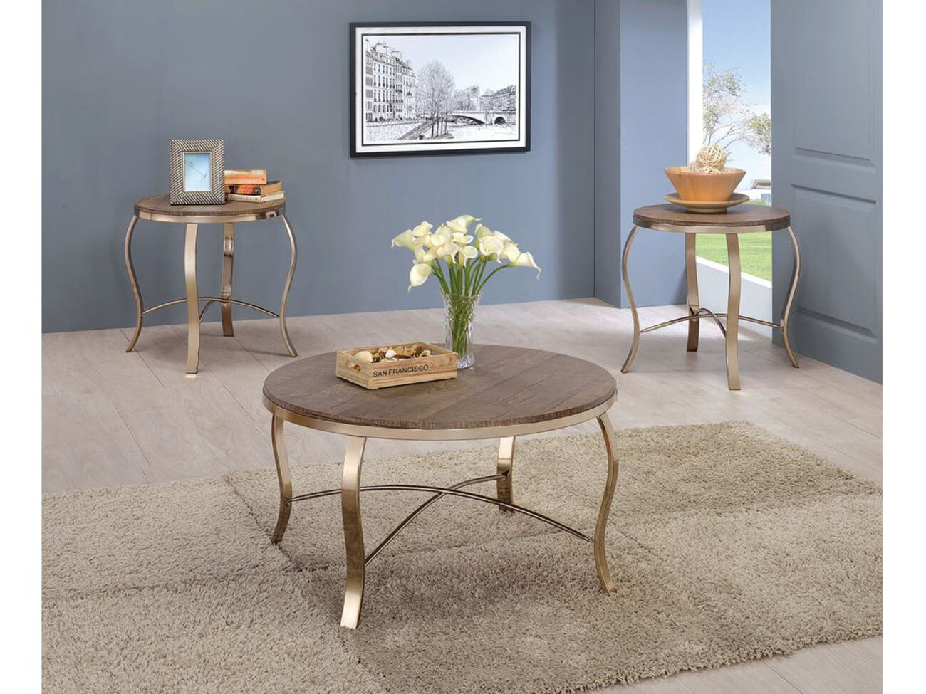 Wicklow Transitional 3 PIECE TABLE SET, CHAMPAGNE