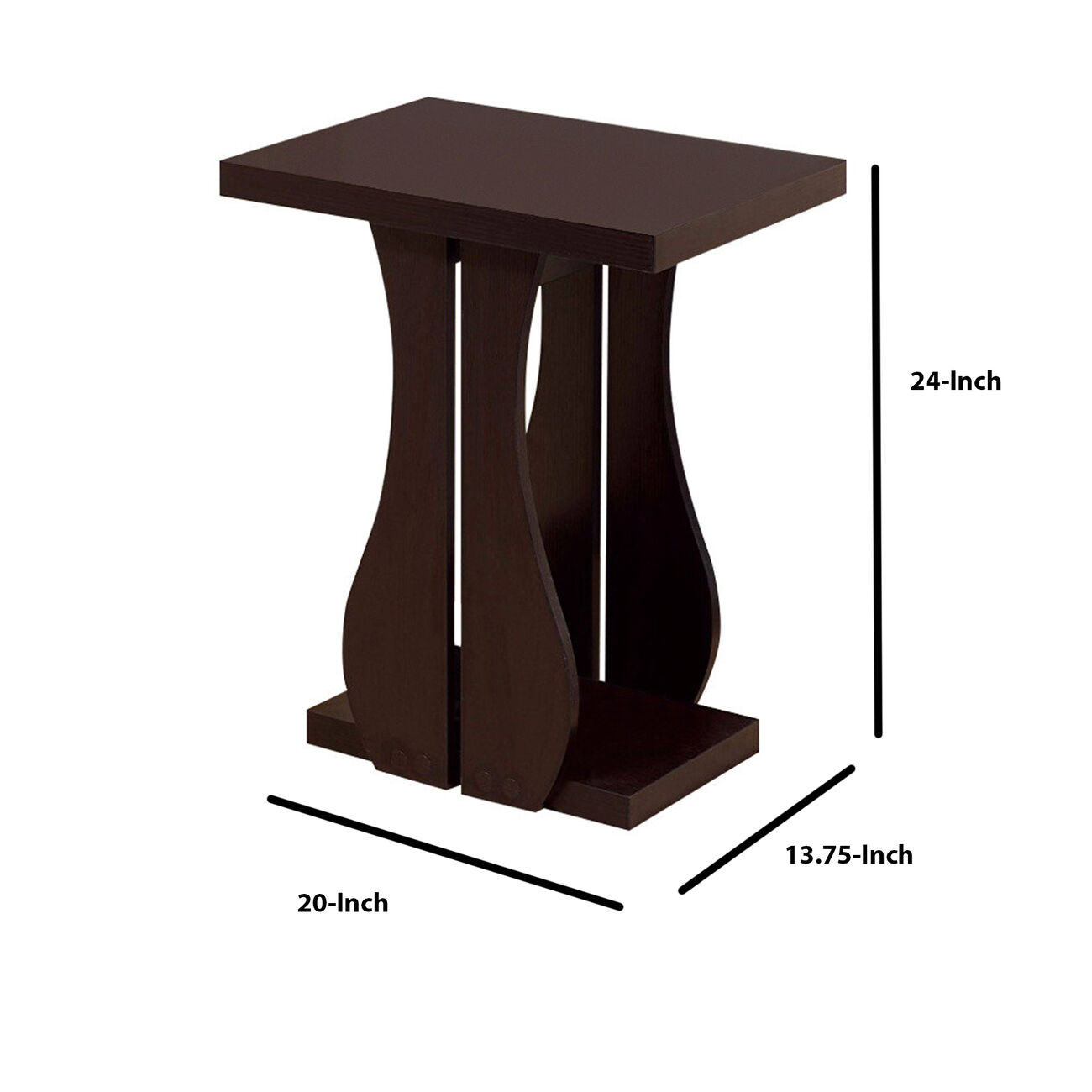 Sophisticated Contemporary Style Chairside Table, Brown Cocoa`