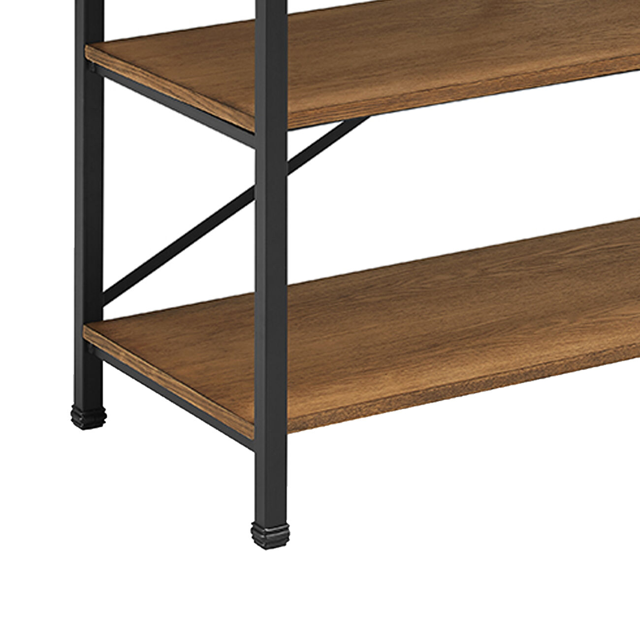Wooden TV Stand with Two Open Shelves and Metal Feet, Brown and Black