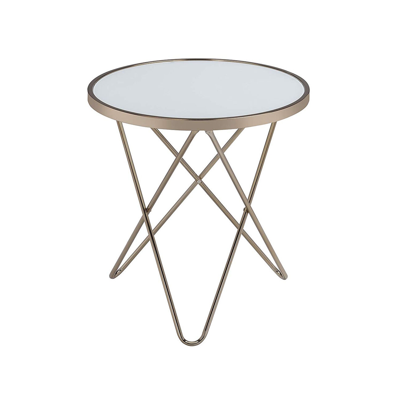 Valora End Table, Frosted Glass & Champagne